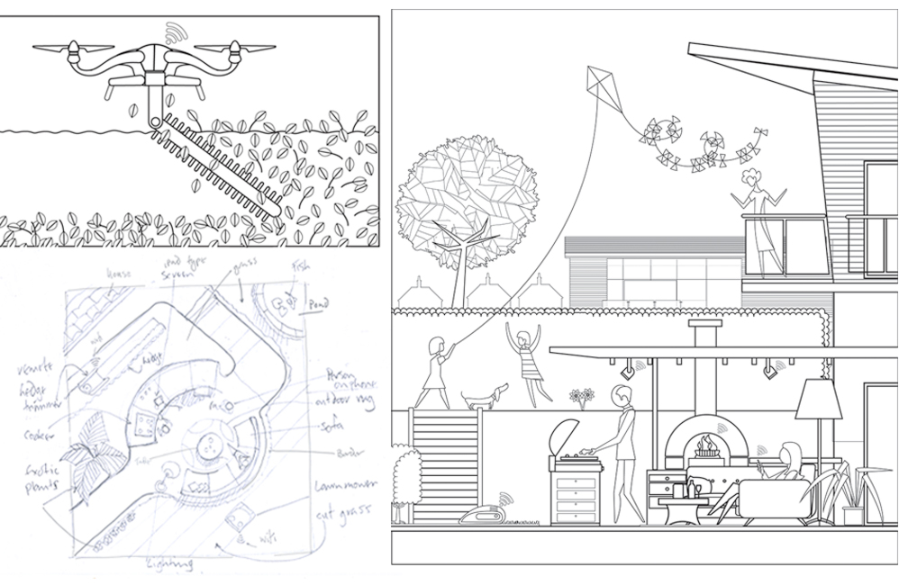 roughs that were sent through to the client including an overhead view idea
