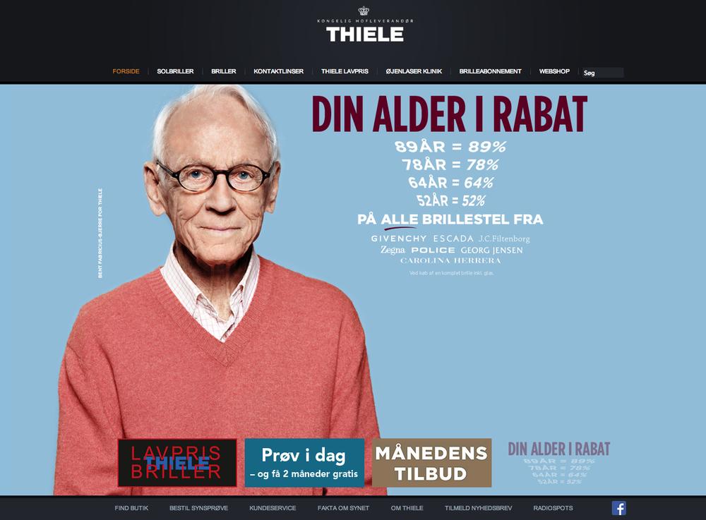 Portræt afBent Fabricius Bjerre i Thiele kampagne påThieles hjemmeside
