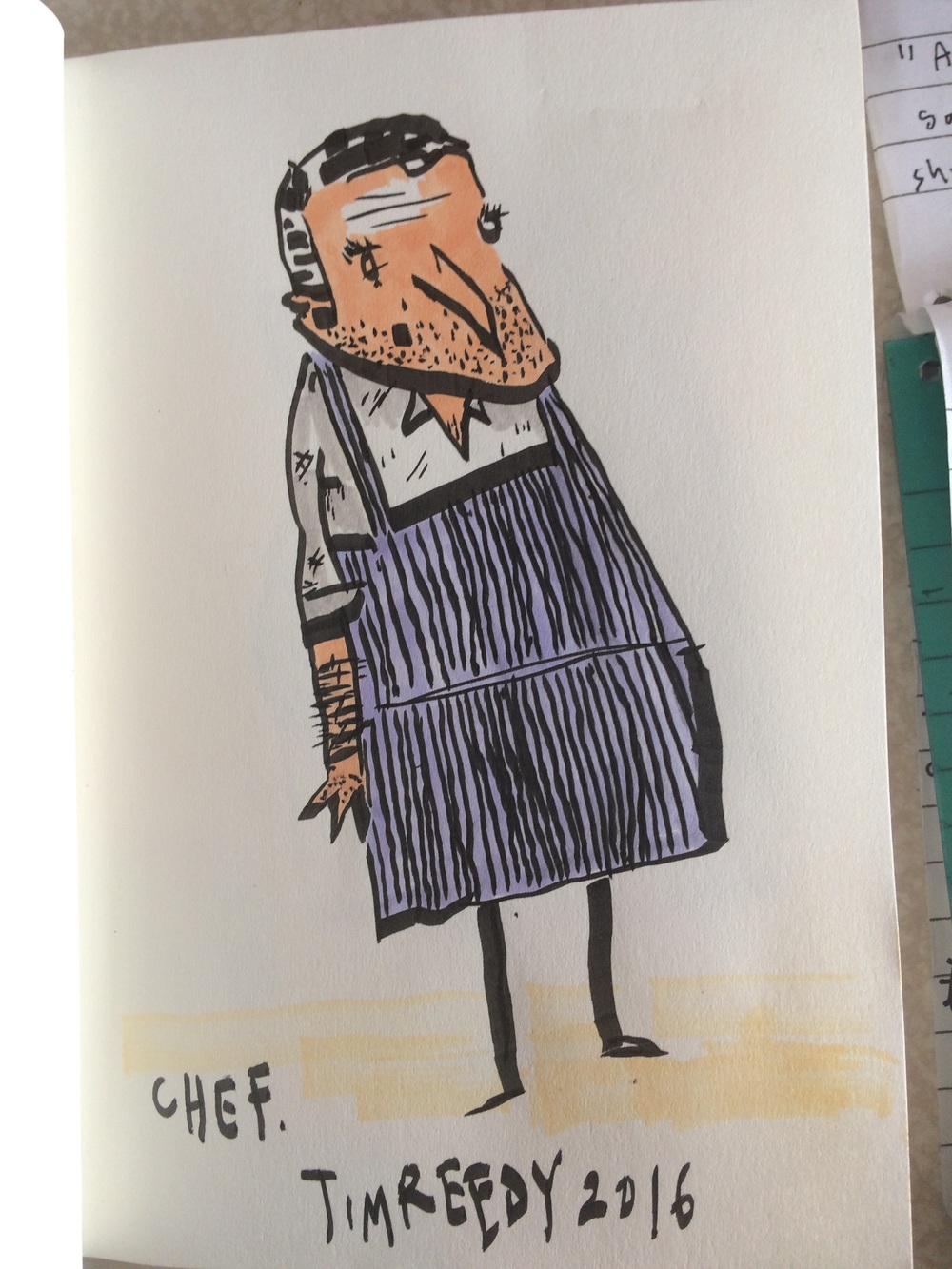 Chef (brush pen and watercolour, 2016).