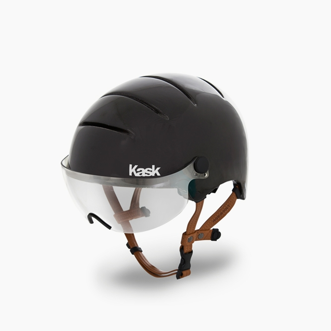 Kask Urban Helmet Incredibly comfortable, made in Italy, and by far our favorite helmet. With a protective visor this helmet has you ready for rain or snow, and the full coverage will keep you cozy, but not too cozy on those chilly rides. $249