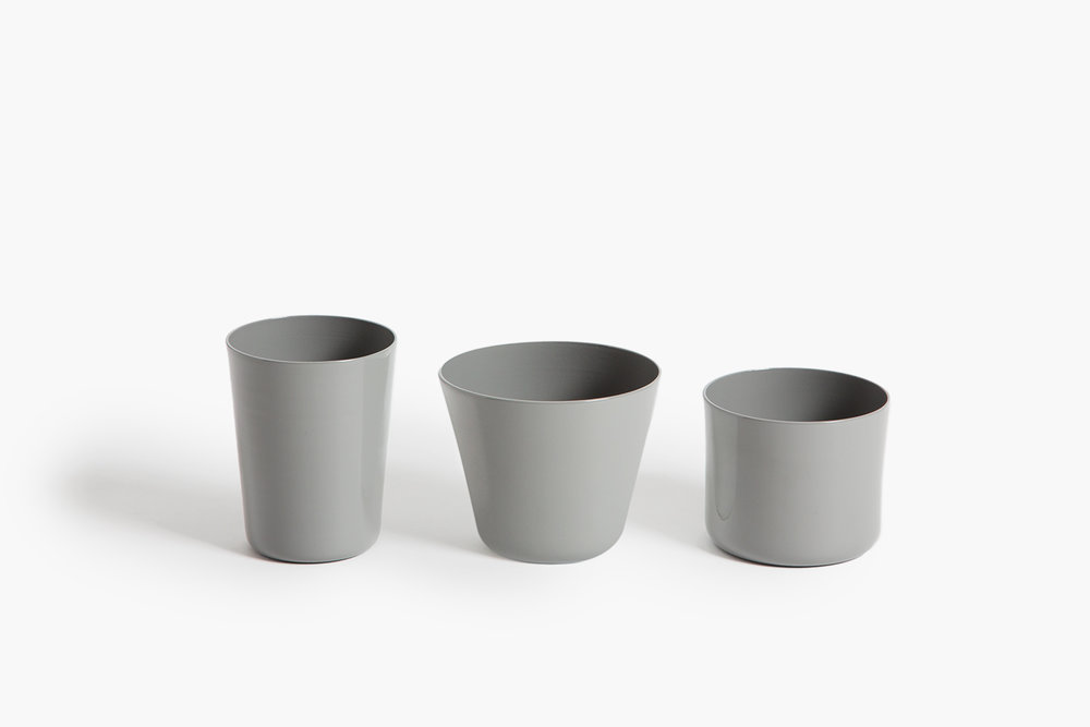 MAKR Tumblers, Gray These thin delicate little tumblers are everything but fragile. Handmade in the USA of hand-turned aluminum the MAKR tumbler resembles fine ceramic, but with a heartier side. Coated with a food grade powder coating for extra durability.  $28