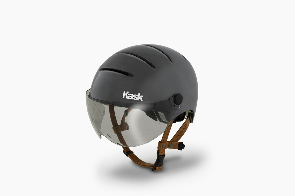 Kask Urban Helmet, Gloss Anthracite You won't find this helmet anywhere else in the US. The Italian made, Kask Urban helmet almost seems as though it was designed for use on a tokyobike. Full coverage, stylish, and incredibly comfortable, everything you want out of a helmet and more. Removable visor, and extra swagger included. $239