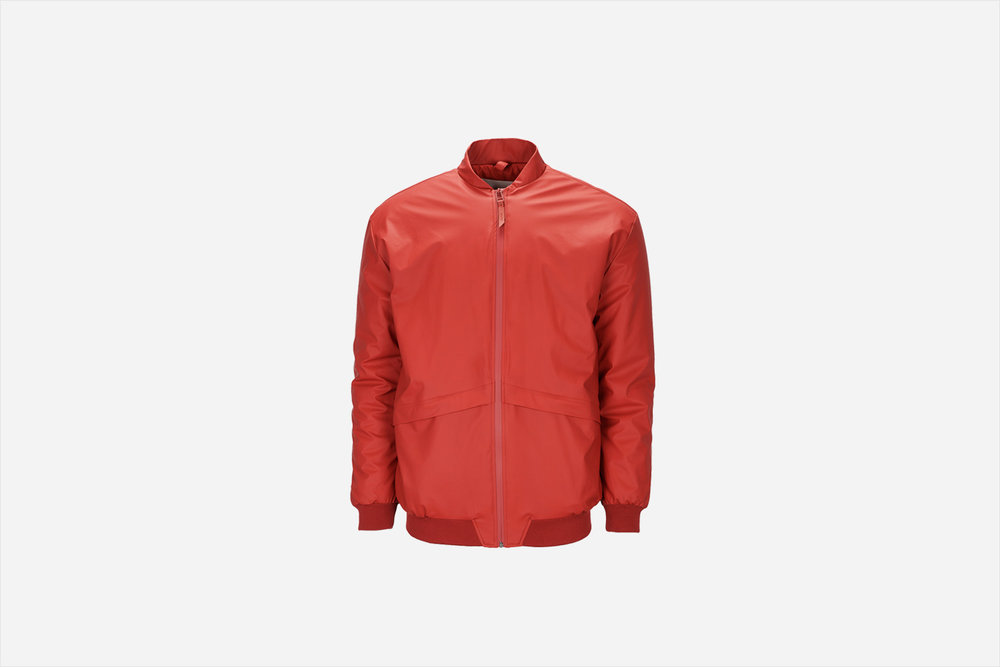 Rains B15 Jacket, Scarlet Inspired by the classic bomber jackets of the 1940's this ultra modern, insulated jacket from Rains is sure to keep out wind, rain, and cold this season. Waterproof, lightweight, and breathable. $220