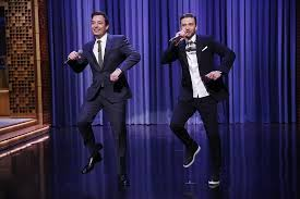 Jimmy Fallon and Justin Timberlake in their evolution of rap skit on The Tonight Show.