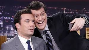 Jimmy Fallon selfie with Stephen Colbert.