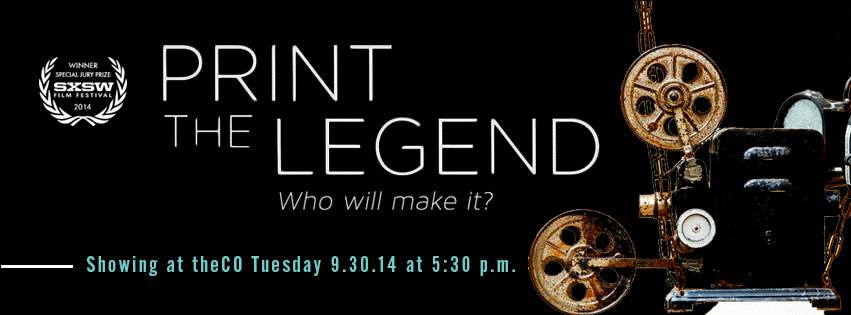 "PRINT THE LEGEND  is both the definitive 3D Printing Documentary – capturing a technology in the midst of its ""Macintosh Moment"" – and a compelling tale about what it takes to live the American Dream in any field.    3D printing is changing the world – from printing guns and human organs, to dismantling the world's industrial infrastructure by enabling home manufacturing. With unprecedented access to the visionaries building an industry, PRINT THE LEGEND follows the people and companies racing to bring 3D printing to your desktop   and into your life.     Join us at theCO for this showing with popcorn & drinks -- it's going to be a good time!"