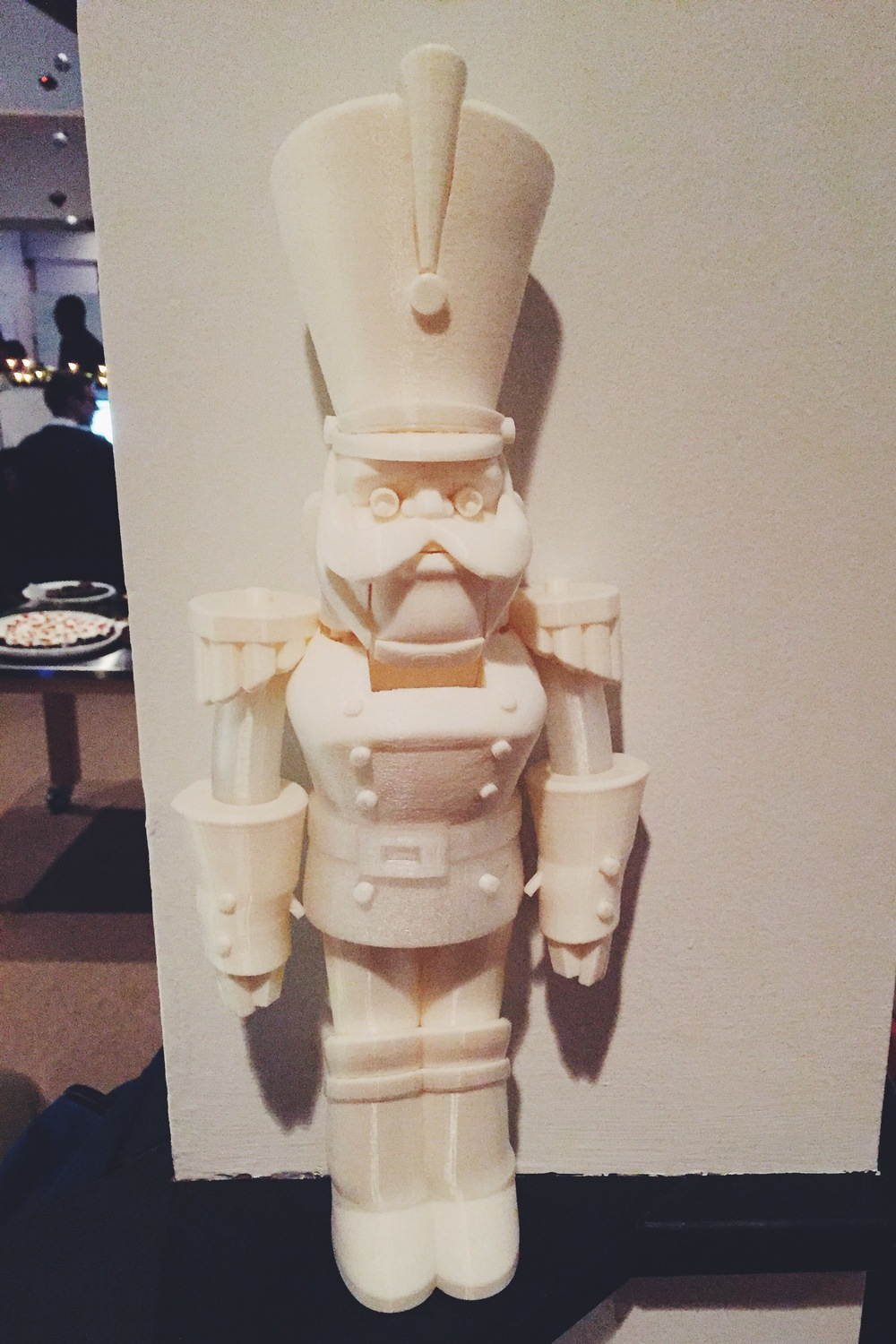 Kevin's nutcracker, standing over 16 inches tall, this guyprinted in35 separate files