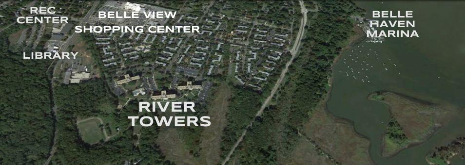 Arial View of River Towers Neighborhood