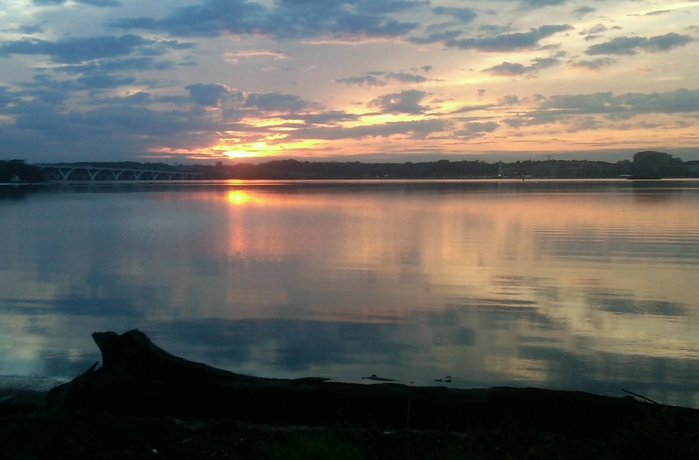 Sunset over Belle Haven Marina park