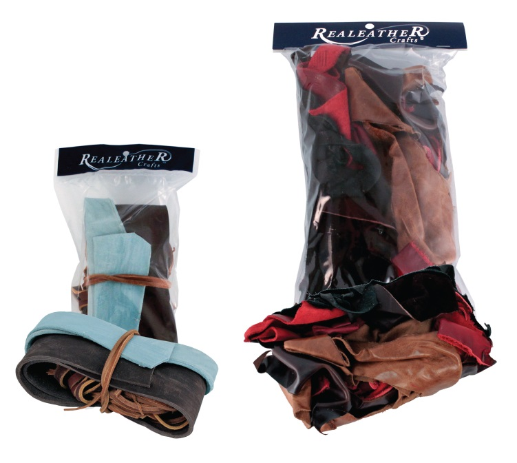 Leather scrap and remnants packaged by Rauch Industries for Realeather