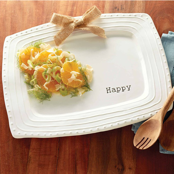 Happy Platter w/Burlap Bow