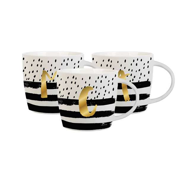 Confetti Black and Striped Gold Initial Mug