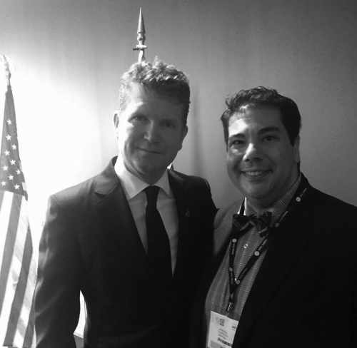 Daniel Parisi with US Ambassador, Matthew Barzun                               at the Global Entry Announcement - 3 November 2015