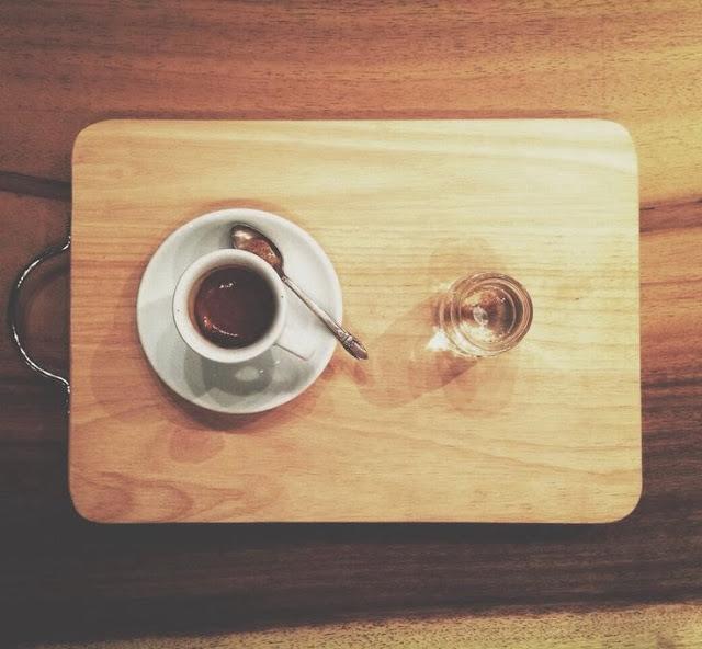 An individual cup of espress