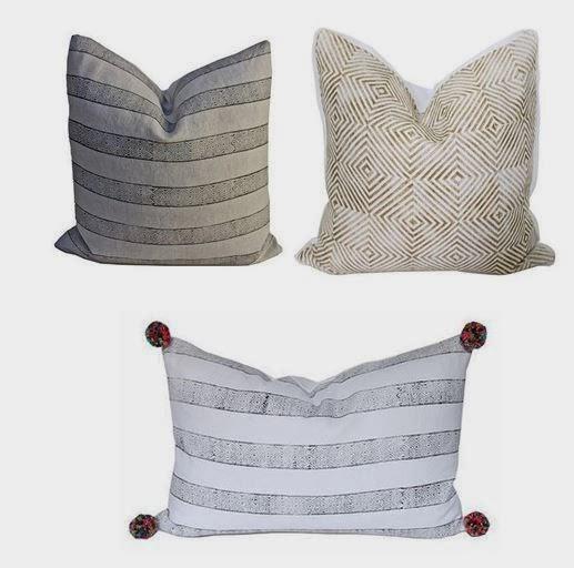 Clockwise: 'Pewter Wabi' pillow; 'Gold Soho' pillow; 'Black Wabi' Lumbar pillow.