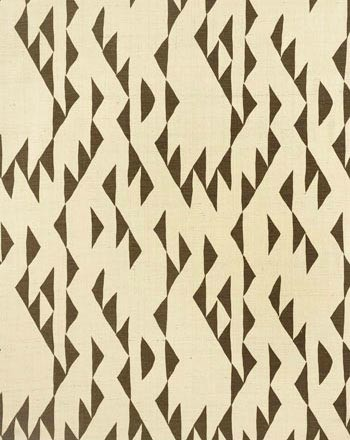 KUTNER I COLOR #18 Rich brown objects resembling a Delaunay design. Printed on 100% silk, Matka.