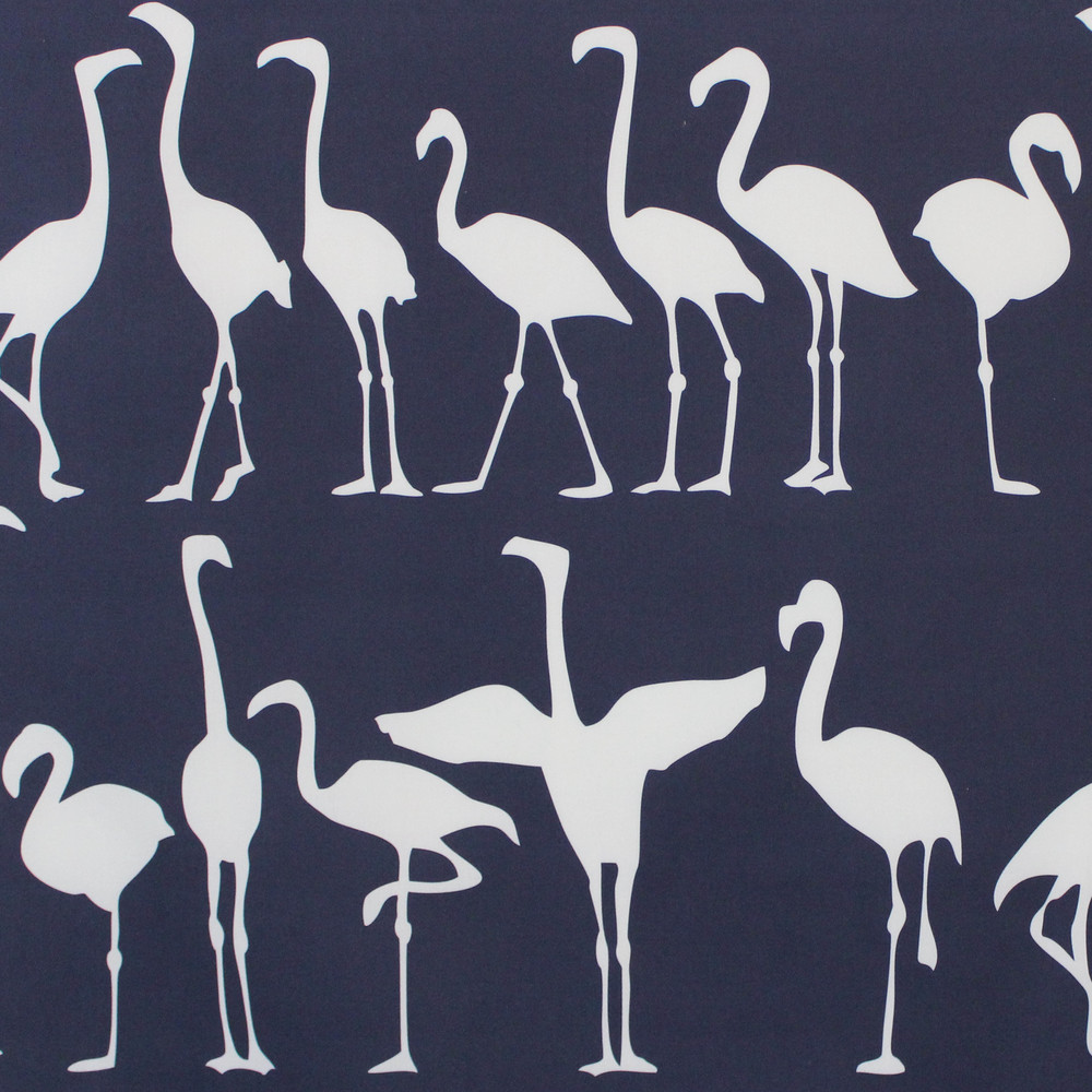 FLAMINGO PARADE I NAVY ON WHITE