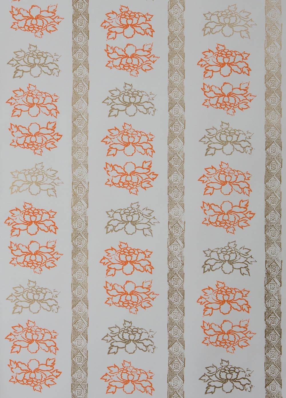 KRANE HOME                            Floral Stripe I Tangerine