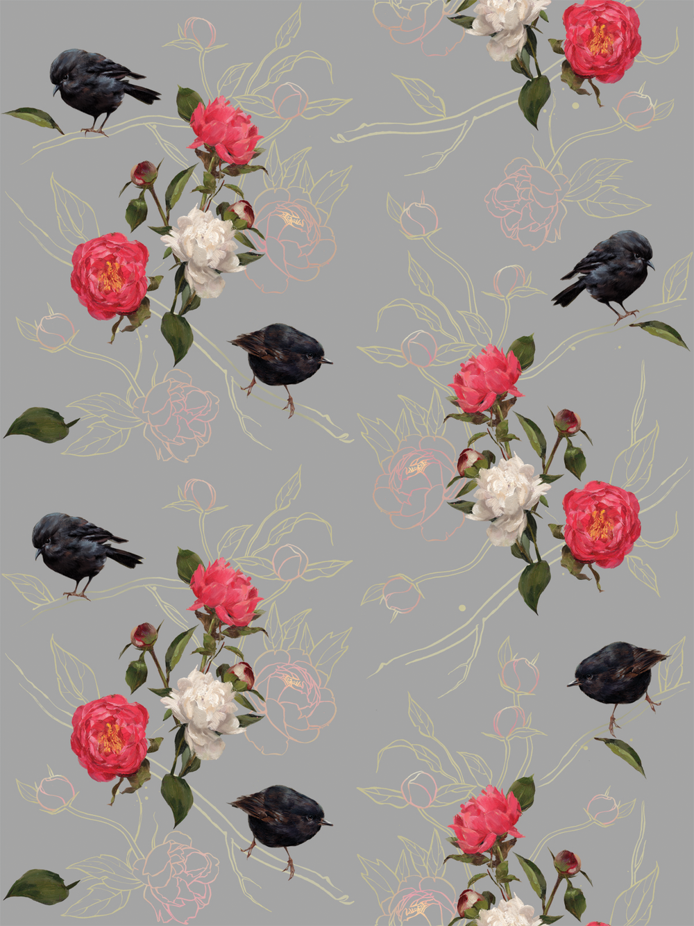 HALF FULL Black Robin I Light Bloom