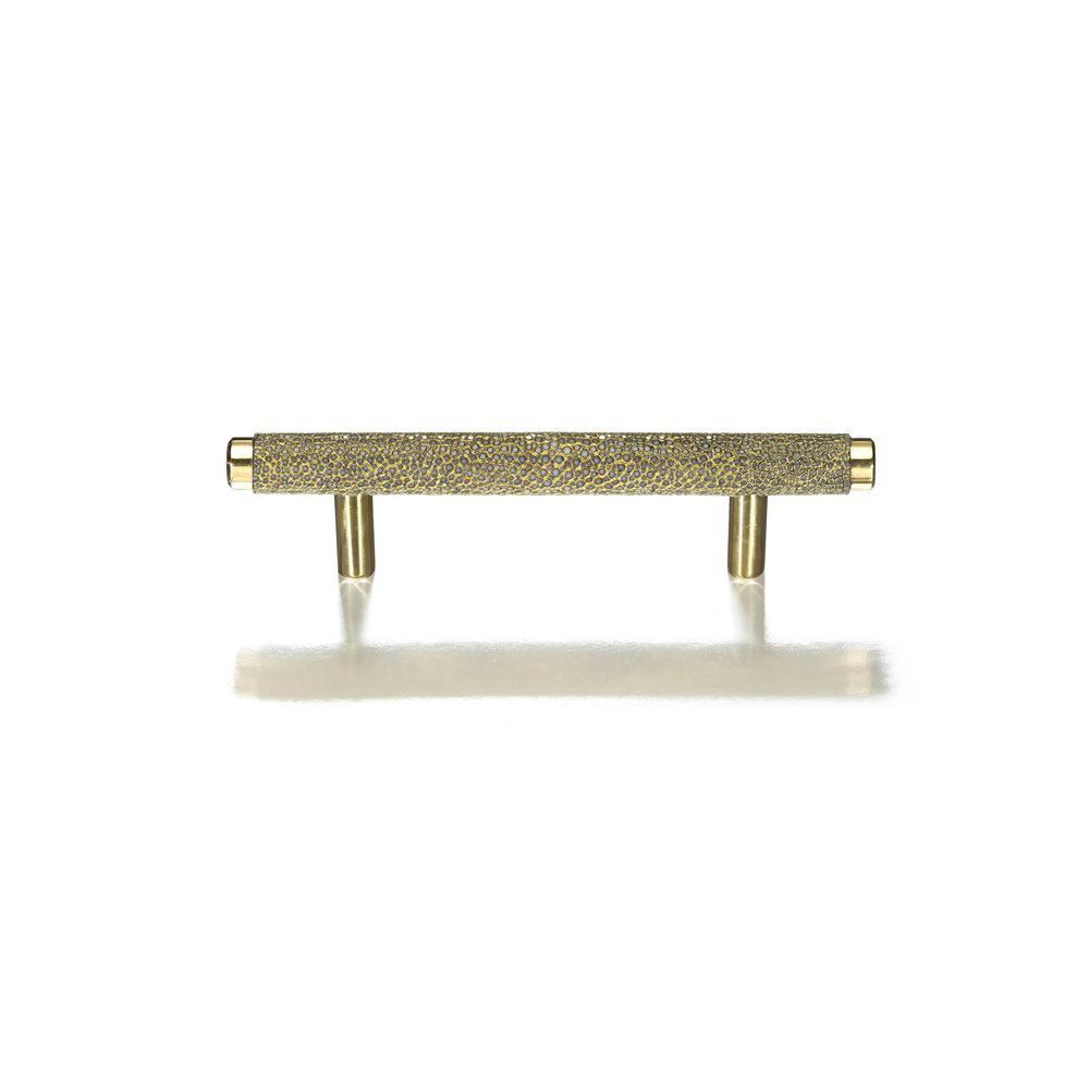 JORDAN T-BAR I AGED SAFFRON I CAVIAR Polished Brass & Gold Crusted Shagreen