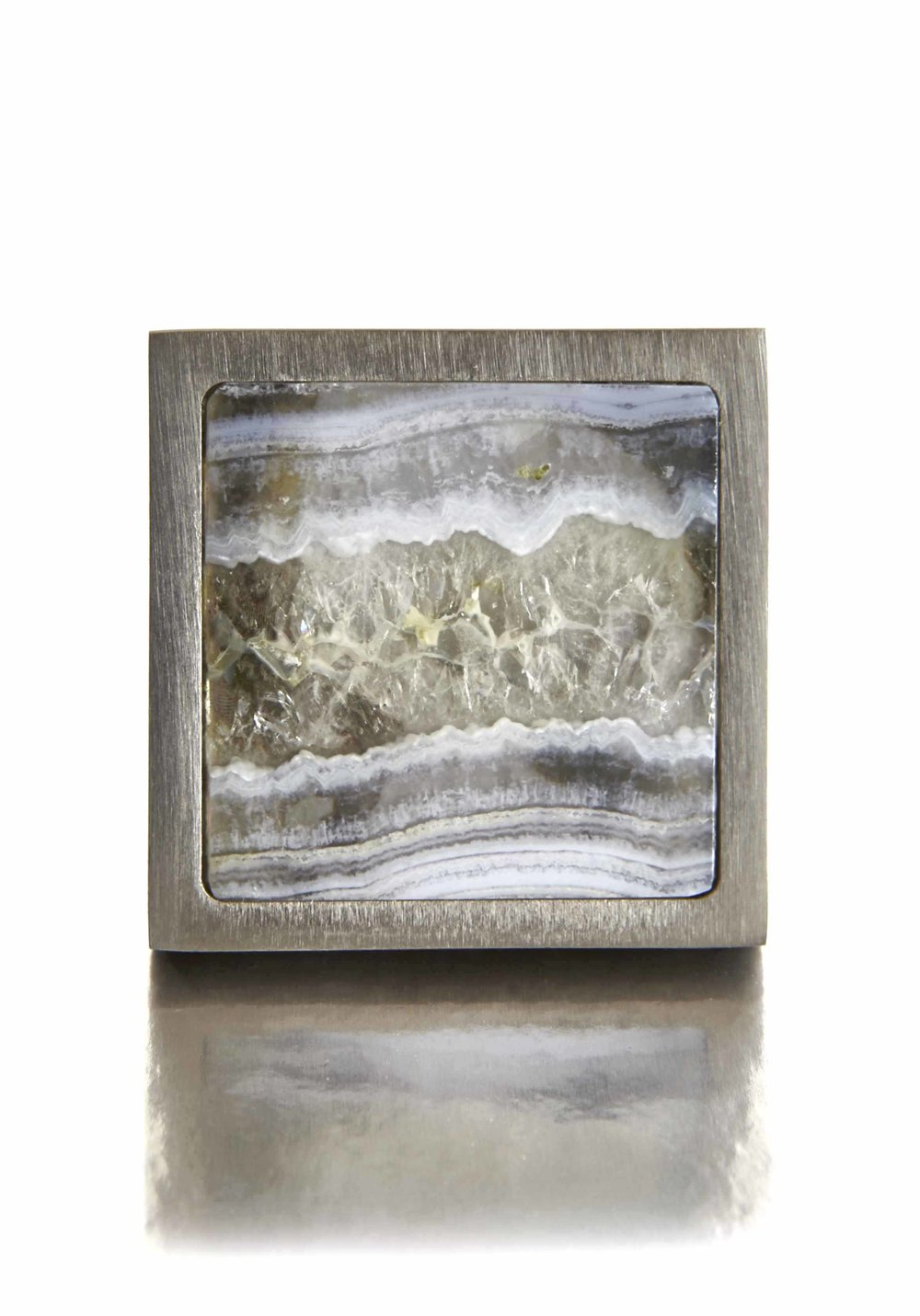 BLUE LACE SQUARE I RARE EARTH   Polished Nickel