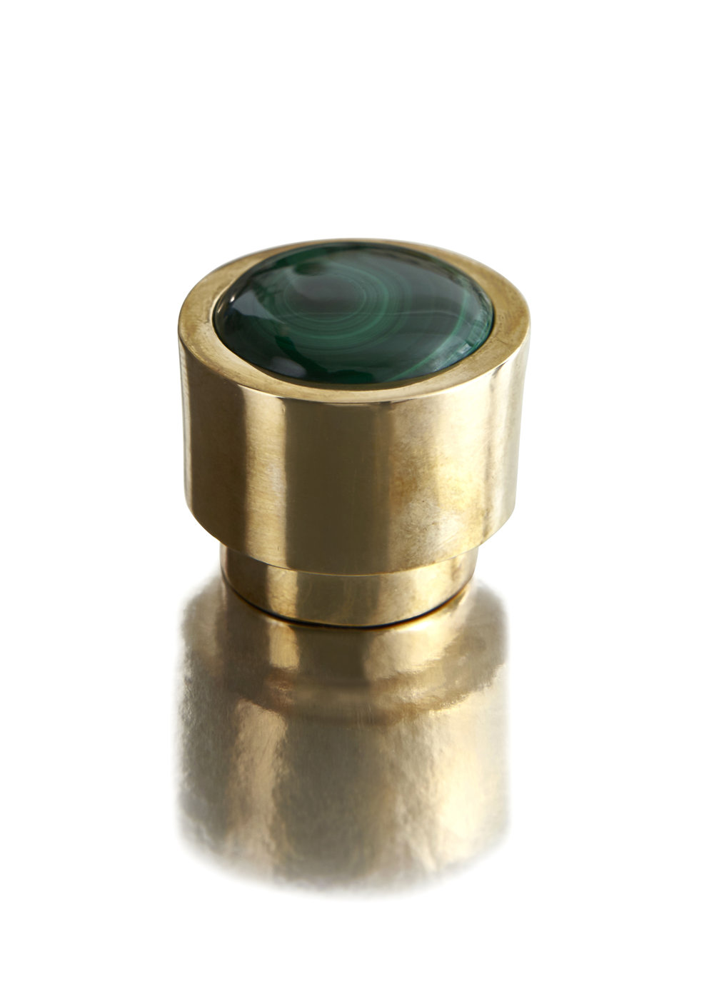 MUSE DIAL I RARE EARTH   Malachite & Solid Brass