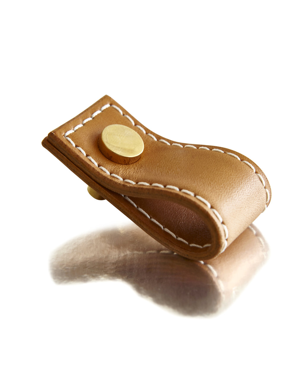 CORDED PULL I CAMEL I EQUESTRIAN          Solid Bronze & Stitched Leather