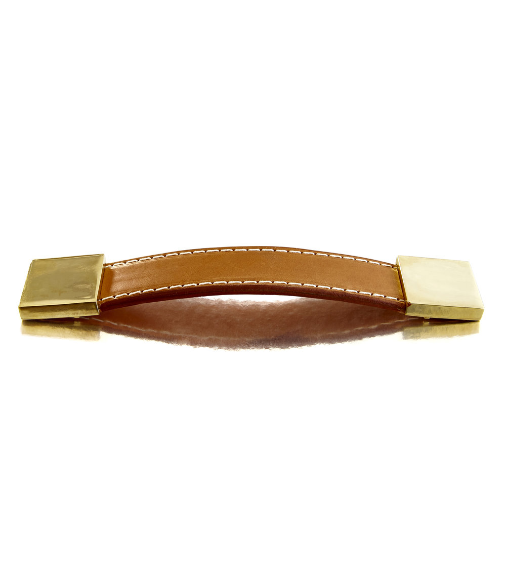 WATCH STRAP I CAMEL I EQUESTRIAN   Polished Brass & Stitched Leather