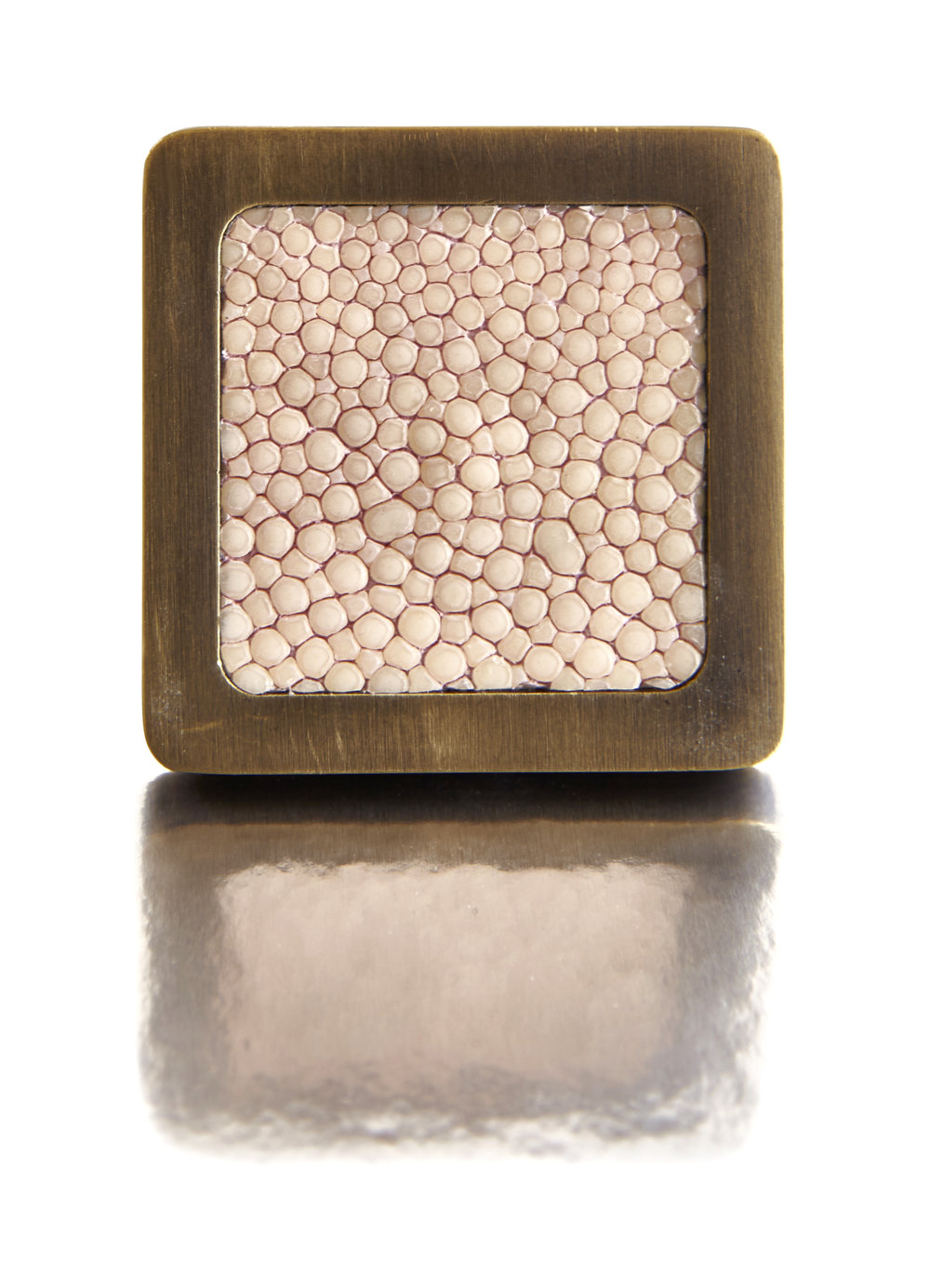 SQUARE KNOB I ROSE PETAL I CAVIAR   Antique Bronze & Shagreen
