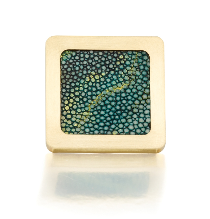 SQUARE KNOB I VIRIDESCENT I CAVIAR   Satin Brass & Hand Painted Shagreen