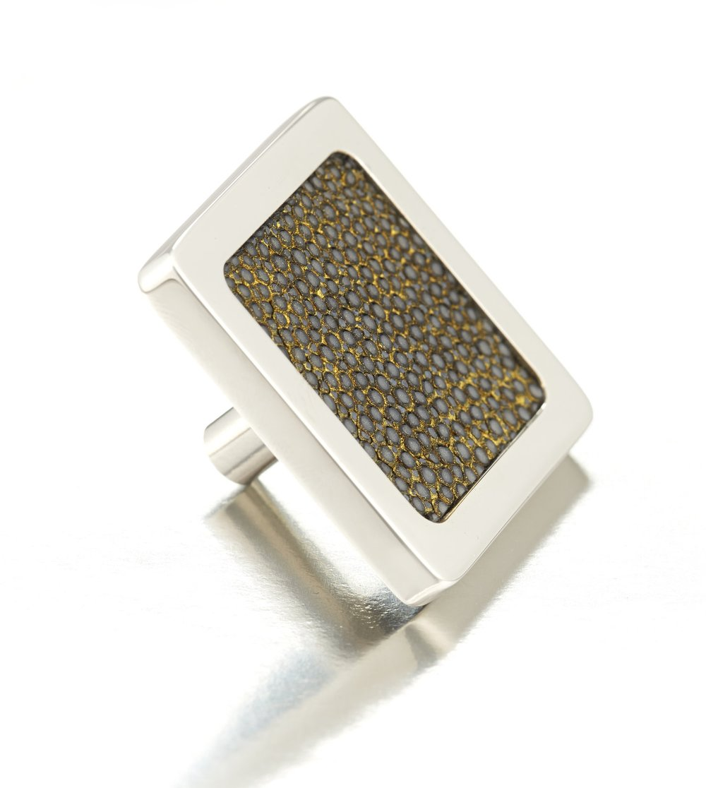 SQUARE KNOB I BLACKENED GOLD I CAVIAR   Polished Nickel