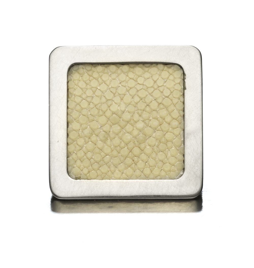 SQUARE KNOB I ALABASTER I CAVIAR   Polished Nickel