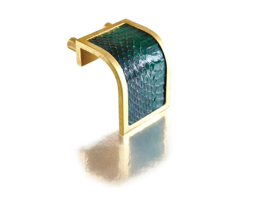 WATERFALL PULL I EMERALD PYTHON I CAVIAR Satin Bronze & Python