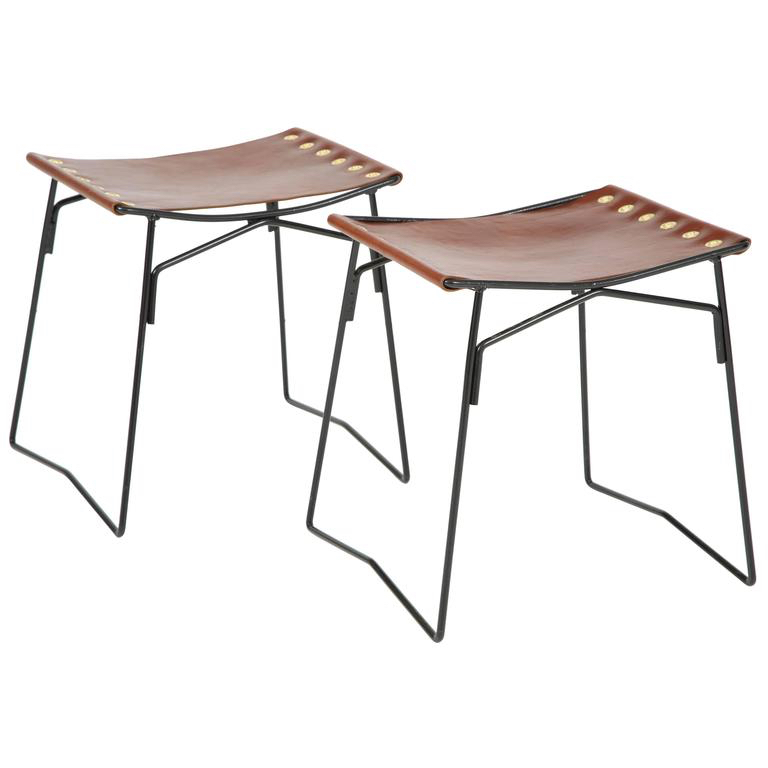 "PASCAL BOYER I PAIR OF LEATHER STOOLS I MID-CENTURY MODERN FRANCE I 18"" H x 18"" W x 12"" D I $4,500"