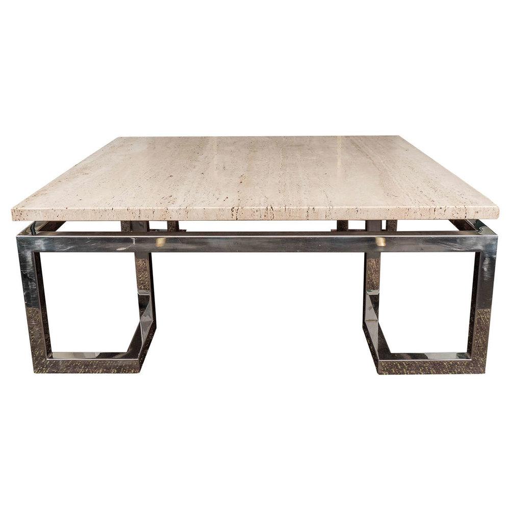 "LARGE GREEK KEY TRAVERTINE TABLE I MID-20TH CENTURY USA I 42"" W x 42"" D x 16"" H I $16,500"