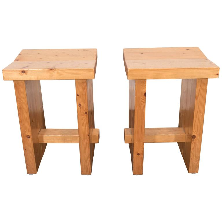 "PAIR OF FRENCH PINE STOOLS I 20TH CENTURY FRANCE I 13"" W x 14"" D x 20"" H x 20"" SH I $4,750 PER SET"