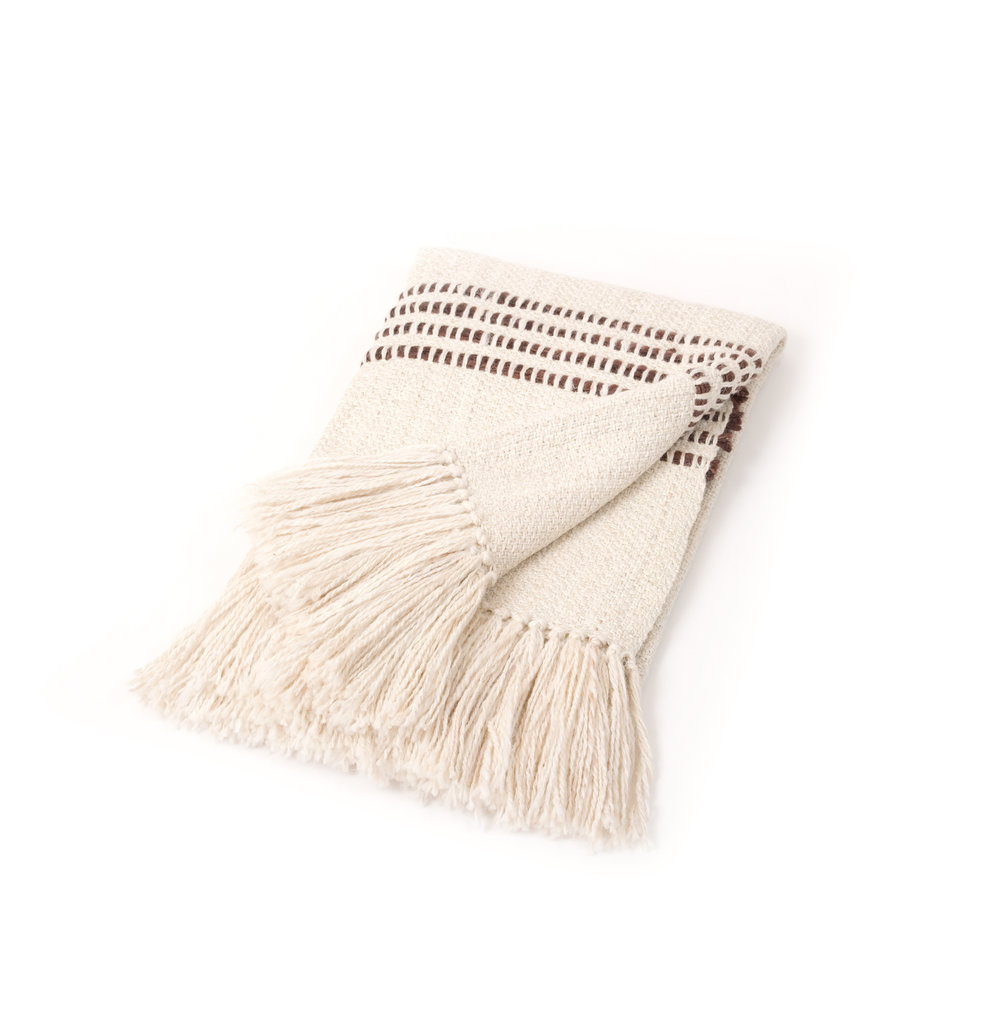 BROWN STRIPE THROW