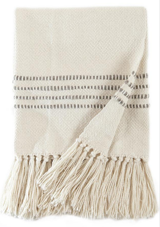 GREY STRIPED THROW