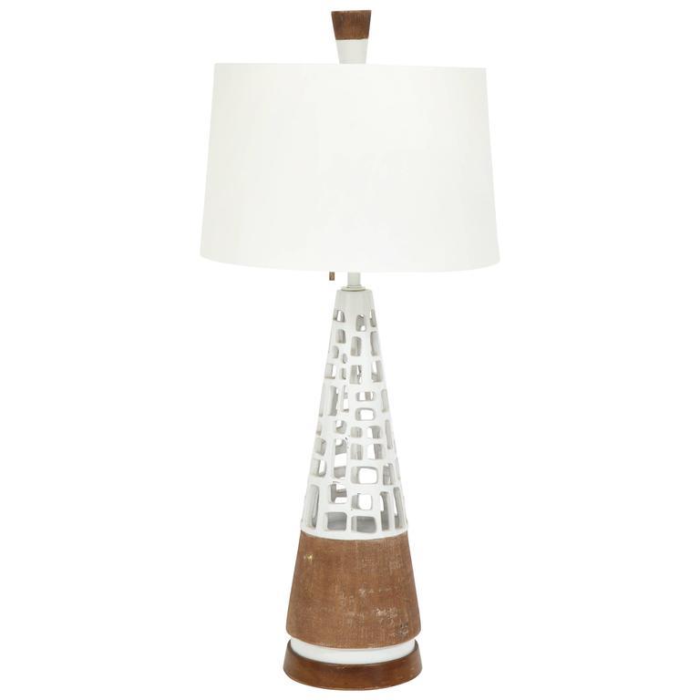 "GLAZED & RAW TERRACOTTA LAMP I USA 1950'S I 36 H x 8"" DM"