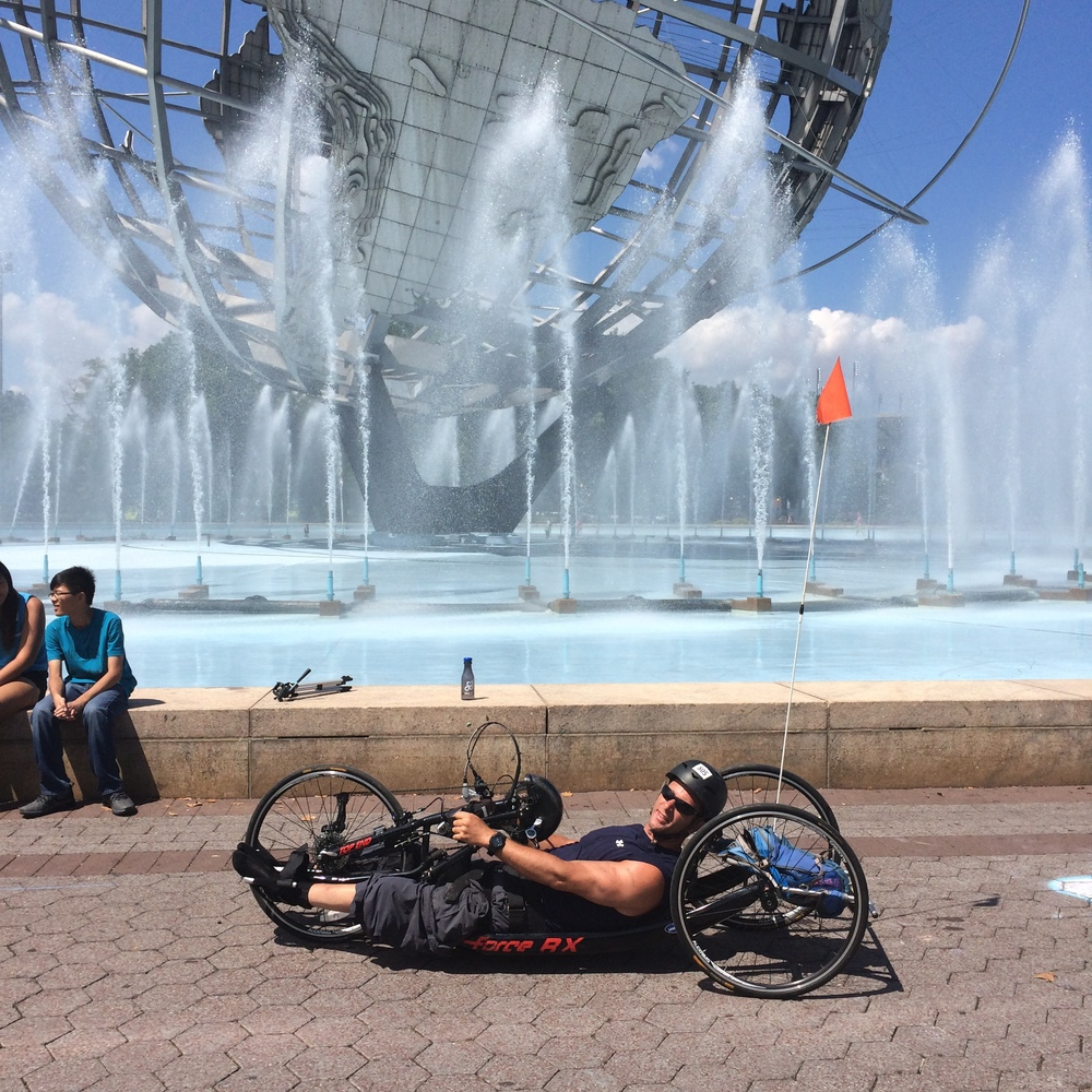 Dan Tratt taking a roll around the Flushing Meadow Park.
