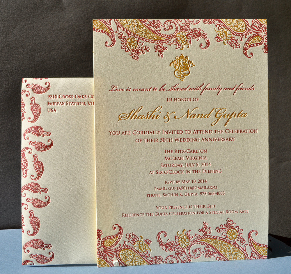 Anniversary celebration printed in 3 colors; Indian Gold and deep red on Ecru Lettra
