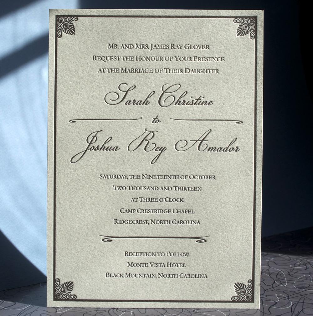 Simple elegant traditional invitation letterpress 1 color on Ecru