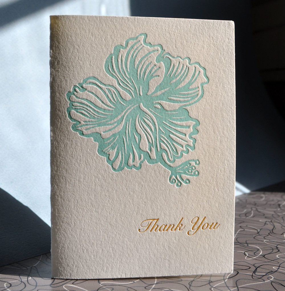 Tropical hibiscus letterpress thank you card