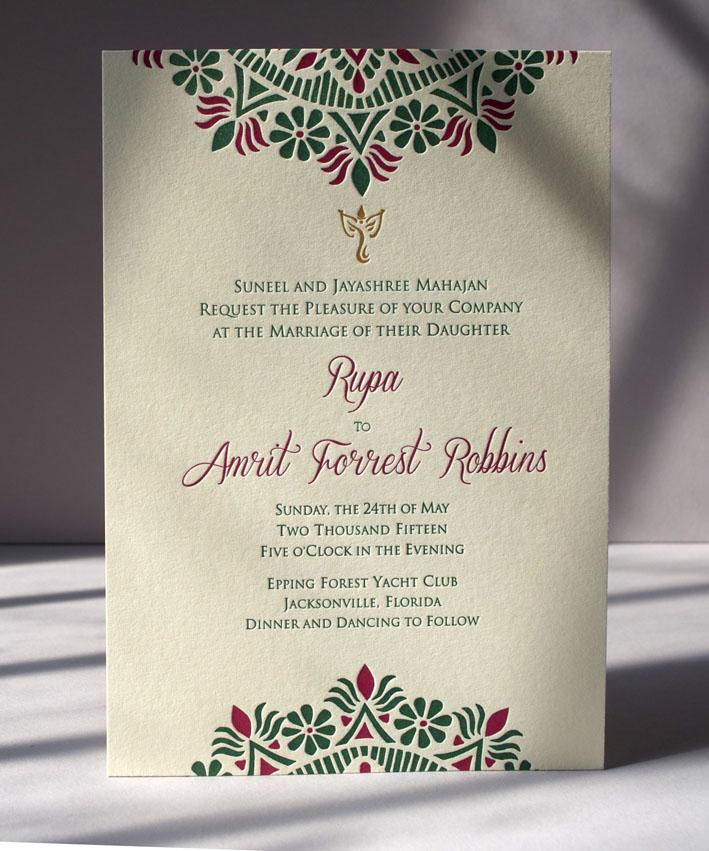 Letterpress Rangoli Invitation, 3 colors printed on Ecru Lettra