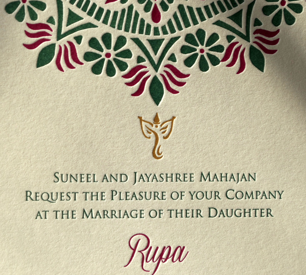 Rangoli wedding letterpress suite, Ganesh close-up!