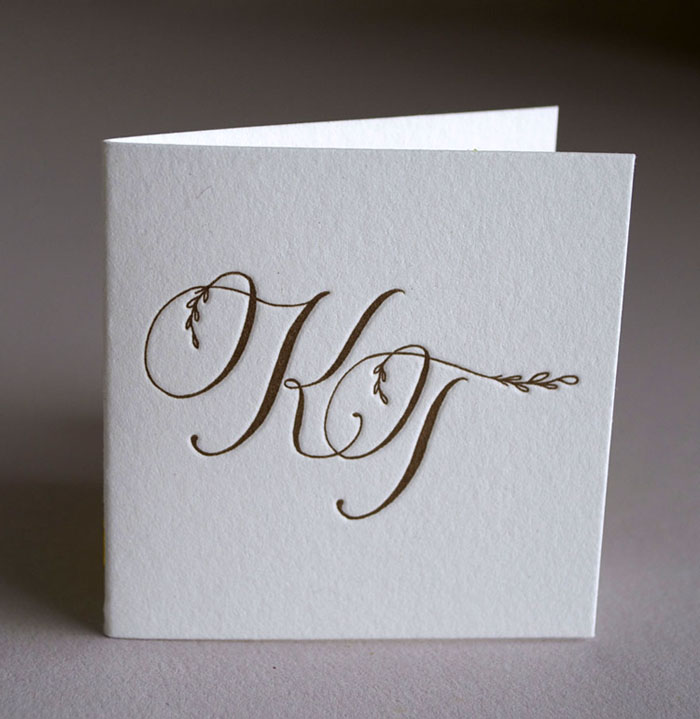 Elegant calligraphy enclosure cards. Printed on single ply Lettra, scored.