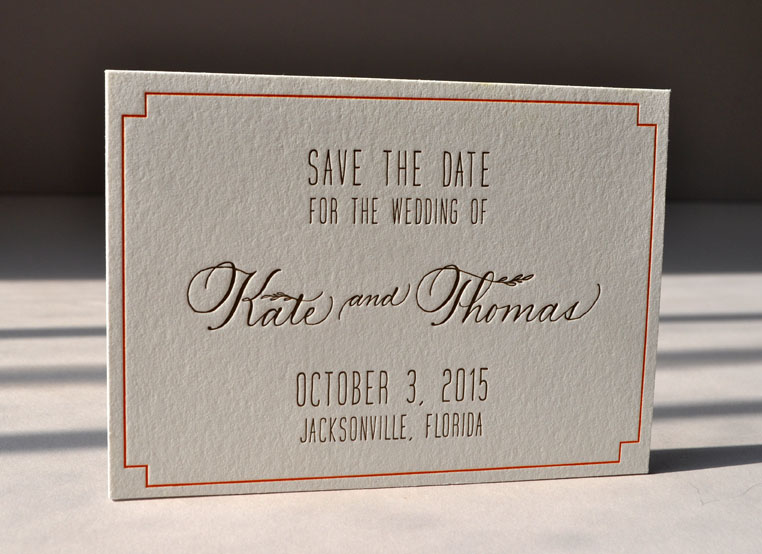 Elegant letterpress calligraphy Save the Date. Printed 2 colors, 2 sides on double Lettra pearl.