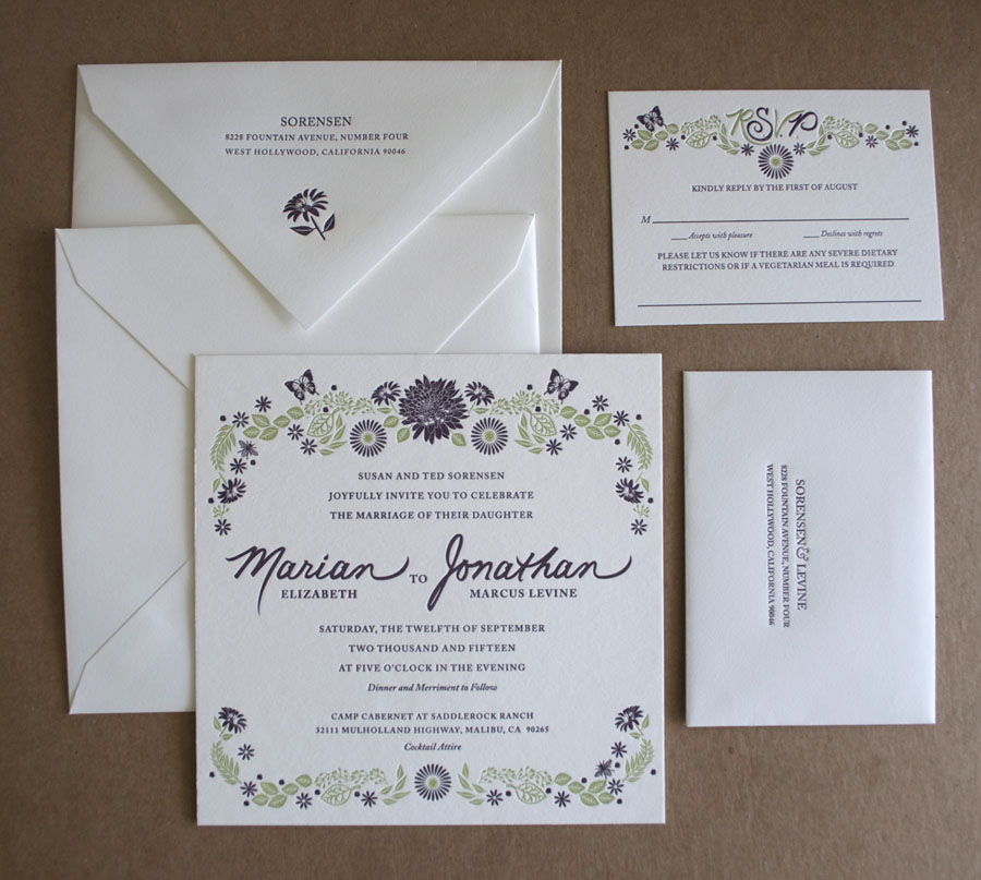 De-Luxe Letterpress suite designed by the Groom's mother