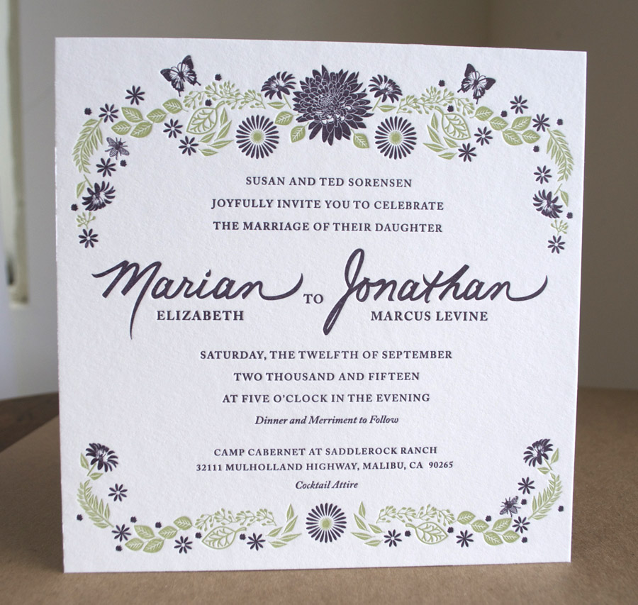 De-Luxe Square happy flowers letterpress invitations. Marquis size invites printed 2colors front and back on double thick lettra.