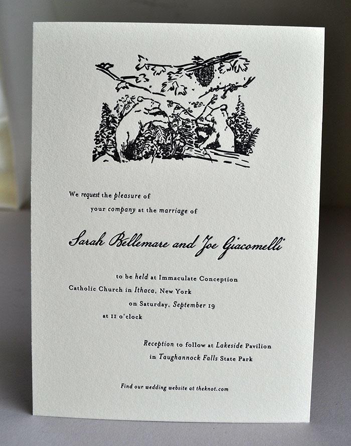 Rustic Woods Letterpress wedding invitation with custom illustration. Printed 1 color on single ply Lettra ecru